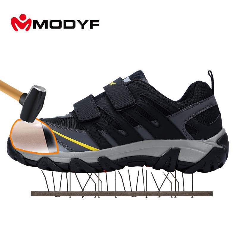 MODYF Men's Steel Toe Cap work Safety Shoes Outdoor Welding Job Boots Magic Tape Puncture Proof Footwear Fashion Sneaker