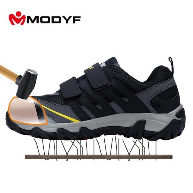 MODYF для мужчин's сталь носком кепки Рабочая обувь Открытый сварочные работы сапоги и ботинки для девочек Magic клейкие ленты проколов