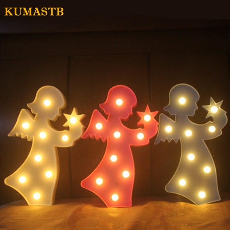LED Melek Şekli Gece Lambası Yatak Odası Dekoratif Lamba Gece Lambası Duvar Lambası Pembe Mavi Beyaz Plastik Melek Gece Çocuklar Için Işıkları