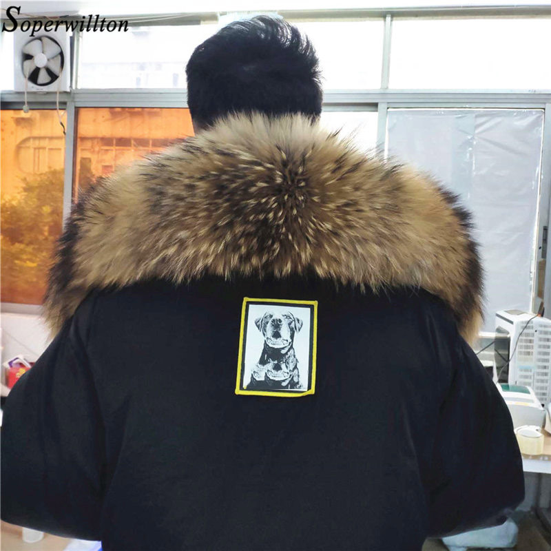 100% Real Fur Collar Large 2018 Fashion Winter Natural Raccoon Fur Women Scarf Coat Jacket Male Scarves Luxury Fur 60cm 70cm #22