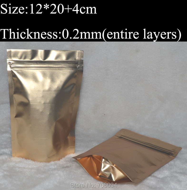 200pcs <font><b>12x20</b></font>+4cm/4.7''x7.9'' Gold Metallic Aluminum Ziplock Stand up Foil Zip lock Pouch Bag,Gold plastic Bag image
