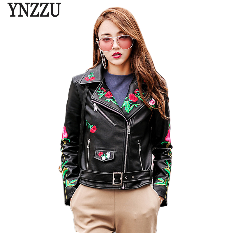 YNZZU 2018 Spring Autumn Women Faux   Leather   Jacket Floral Embroidery Motorcycle Cool Outerwear Coat with Belt High Quality YO533