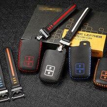 Leather key cover for toyota hilux camry prado FJCruiser LANDCRUISER highlander car key case wallet holder 2 button key2Y