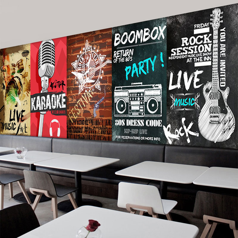 Free Shipping retro musical instrument mural dance hall  concert living room music studio background microphone wallpaper mural  free shipping retro female star mural background wall bathroom studio home decoration artistic studio bedroom wallpaper
