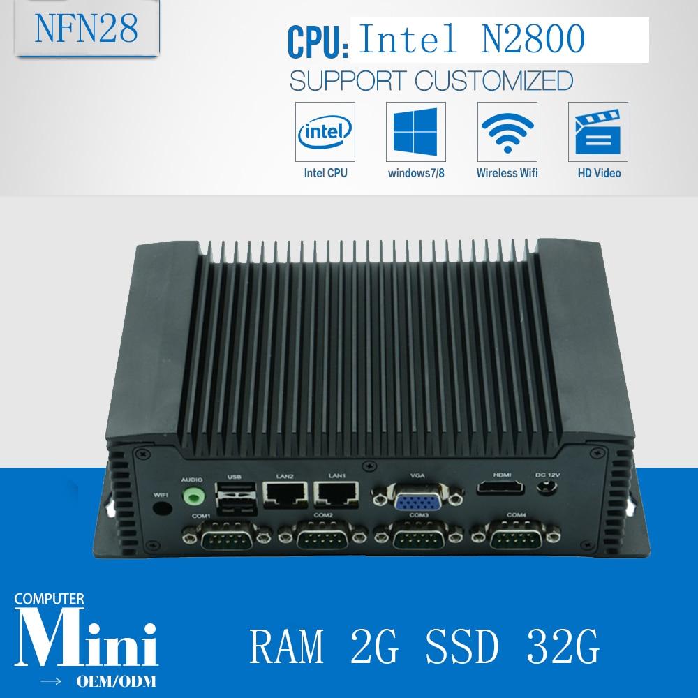Atom N2800 Embedded Industrial Mini PC Box PC NFN28 Barebone system with RAM 2G SSD 32G