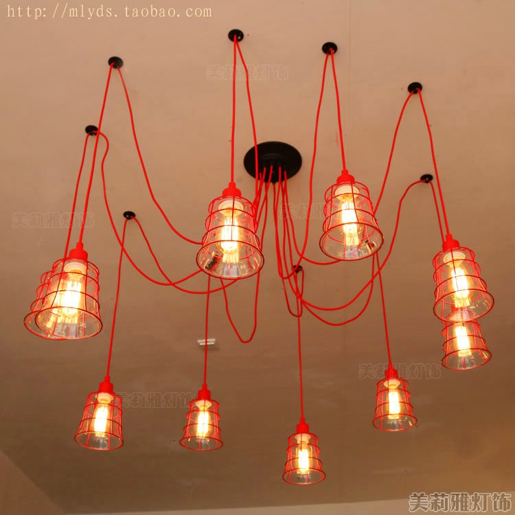 RED Nordic Retro Loft Style Industrial Vintage Lamp Pendant Lights Fixtures For Dinning Room Lampe Edison Handing Light american country retro loft style industrial pendant lamp fixture 2 lights dinning room vintage hanging light lampe lamparas