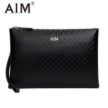 2017 New Geometric Pattern Black Clutch Bags for Men Vintage Men Business Casual Clutch Wallets Large Capacity Long Leather Bag