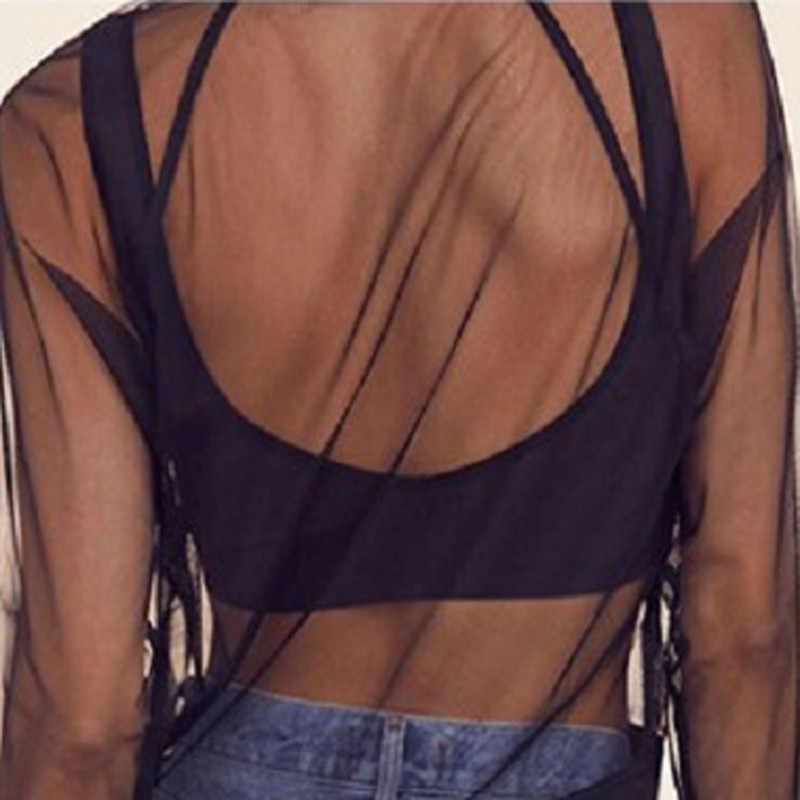 Hirigin Sexy đường phố Mát Mẻ phong cách Phụ Nữ Phụ Nữ Lưới Xem-through Top Dây Kéo Bóng Chày Áo Khoác Outwear Tops Coat Áo Jacket Màu Đen femme