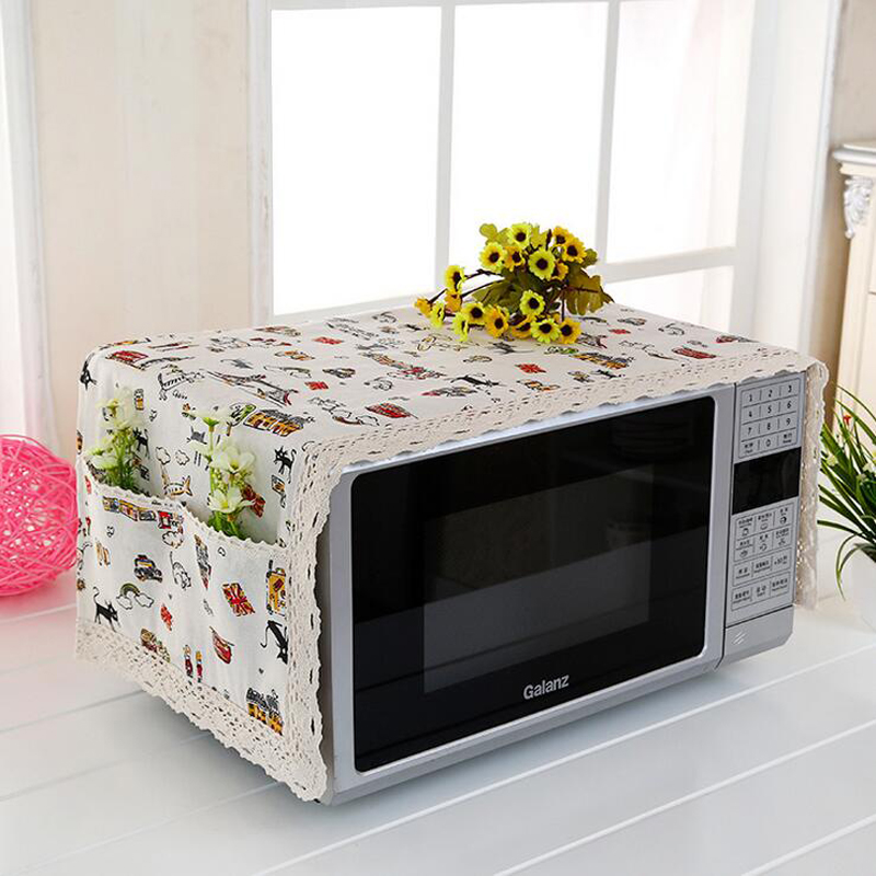 hot 1pc flower cotton pastoral style cartoon cloth microwave oven kitchen hoods dustproof cover with 2