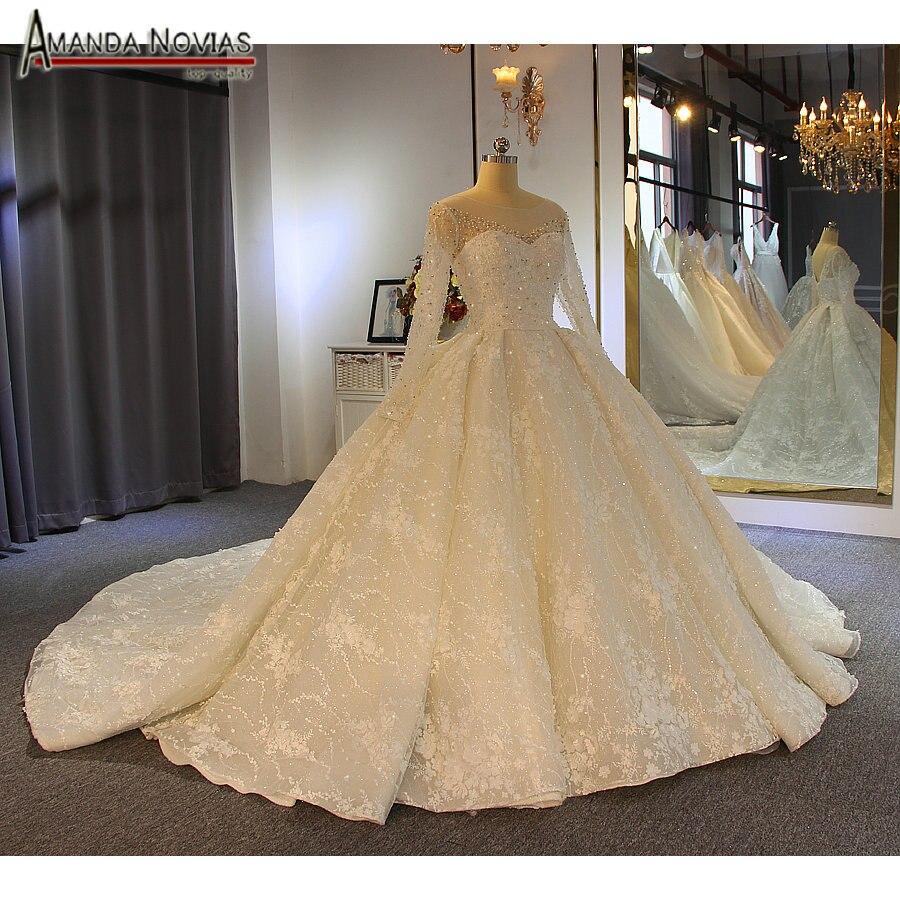 robe de soiree courte 2019 ball gown long sleeves shinny wedding dress amanda novias real work