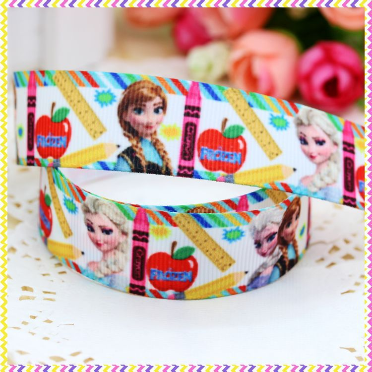 DHK 78'' Free shipping anna elsa school printed grosgrain ribbon headwear hair bow diy party decoration wholesale OEM 22mm B510