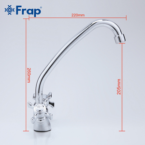 Image 5 - Frap 360 Degree Rotation Kitchen Faucet Double Handles Gooseneck Design F4124