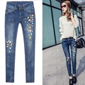 2017 Spring Pockets Straight Denim Jeans Women Bottom Flower Embroidery Jeans Female  Blue Casual Pencil pants