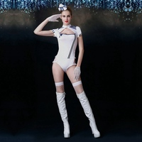 JSY Sexy Cosplay Air Hostess Costumes White Ployester Stewardess Uniform Outfit Women suit Hat Gloves Stockings 6019
