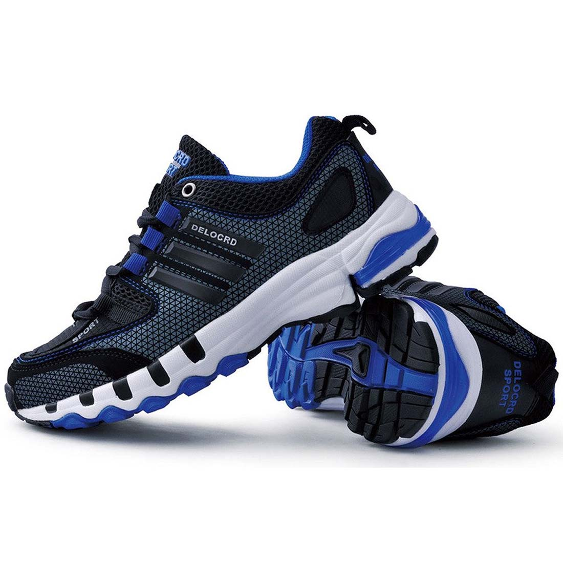 New Sale DELOCRD Mens Retro sports shoes Wearable running shoes Black+blue 39/40/41/42/43/44/45/46/47/48