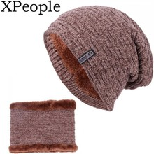 XPeople 2Pcs Winter Beanie Hat Scarf Set Warm Thick Knit Hats Skull Caps for Men Women