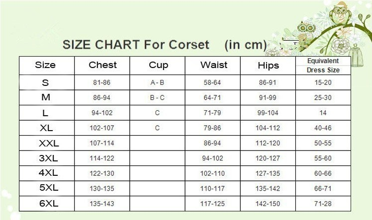size table for corset