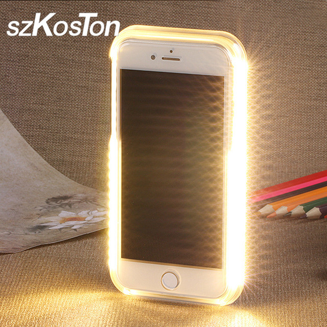 best service df7d1 3e6ca US $10.49 |LED Selfie Light Phone Case For iPhone X 7 8 6 6s plus Flash  Luminous Self Light Up Glowing Back Cover Protector For iPhone 6 7-in  Fitted ...