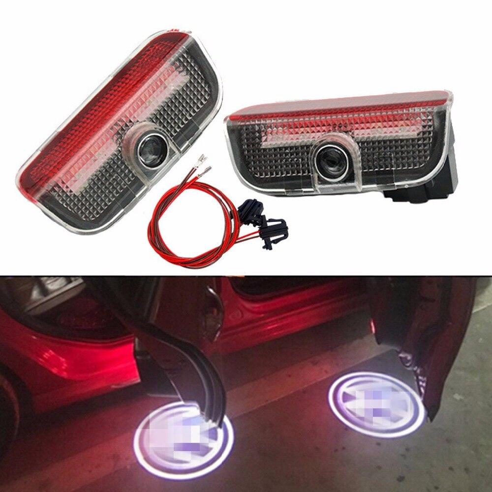 2pcs Car Door Light LED Light Bulb For Volkswagen VW Passat B6 B7 Golf 4 5 6 7 Jetta Tiguan GTI R Decorative Lamp Car-styling