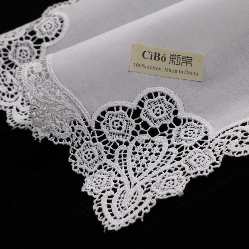A005 White premium cotton lace handkerchiefs 12 piece pack blank crochet hankies for women ladies wedding