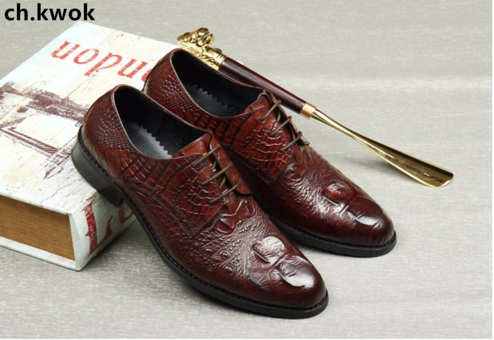 CH.KWOK Crocodile Wine Red Mens Dress Oxfords Genuine Leather Men Wedding Party Formal Shoes Oxfords Breathable Lace Up Shoes good quality men genuine leather shoes lace up men s oxfords flats wedding black brown formal shoes