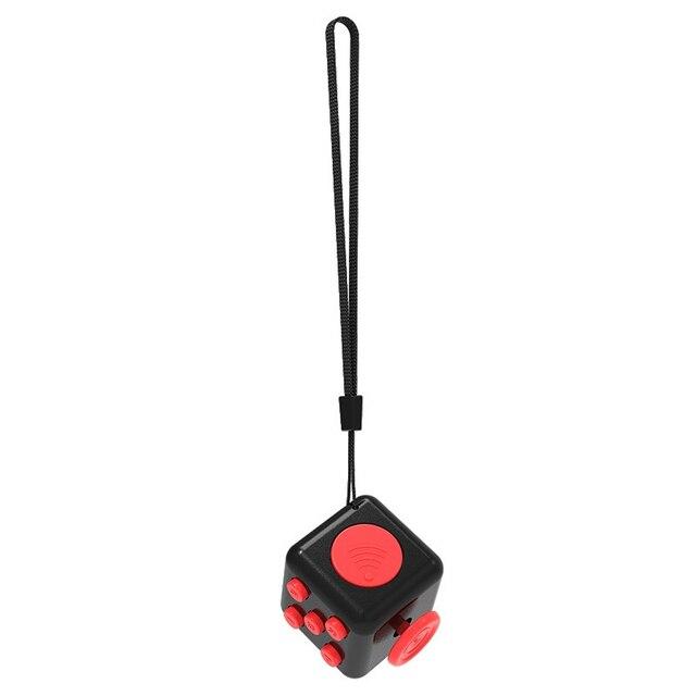 2Pcs Stress Reliever Fidget Cube Desk Stress Finger Cube Stress Reliever Fidge Toy Relieves Anxiety Stress Juguet With Lanyard