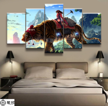 5 Panel A Girl with Tigers Cartoon Poster Canvas Printed Painting For Living Room Wall Art Decor Picture Artworks