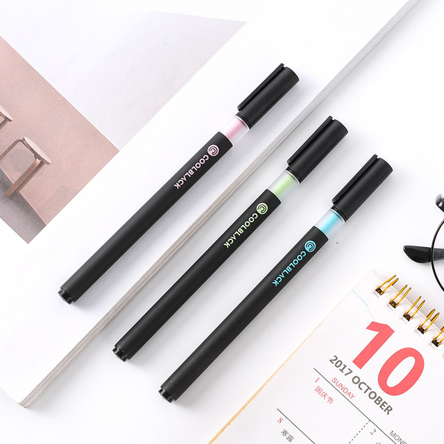 3pcs Cool Black Color Gel Pens for Writing Signature 0.5mm Roller Ball Pen Stationery Office Accessories School Supplies A6819 3
