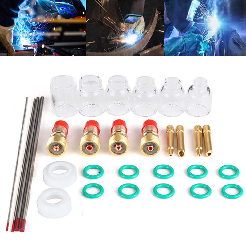 30pcs TIG Welding Accessories Torch Stubby Gas Len Glass Cup Seal Rings Tig Welding Kit for WP17/18/26 Mayitr 31pcs set tig welding torch accessories 6 12 glass cup kit easy to assemble for wp 17 18 26 torch mayitr welding accessories