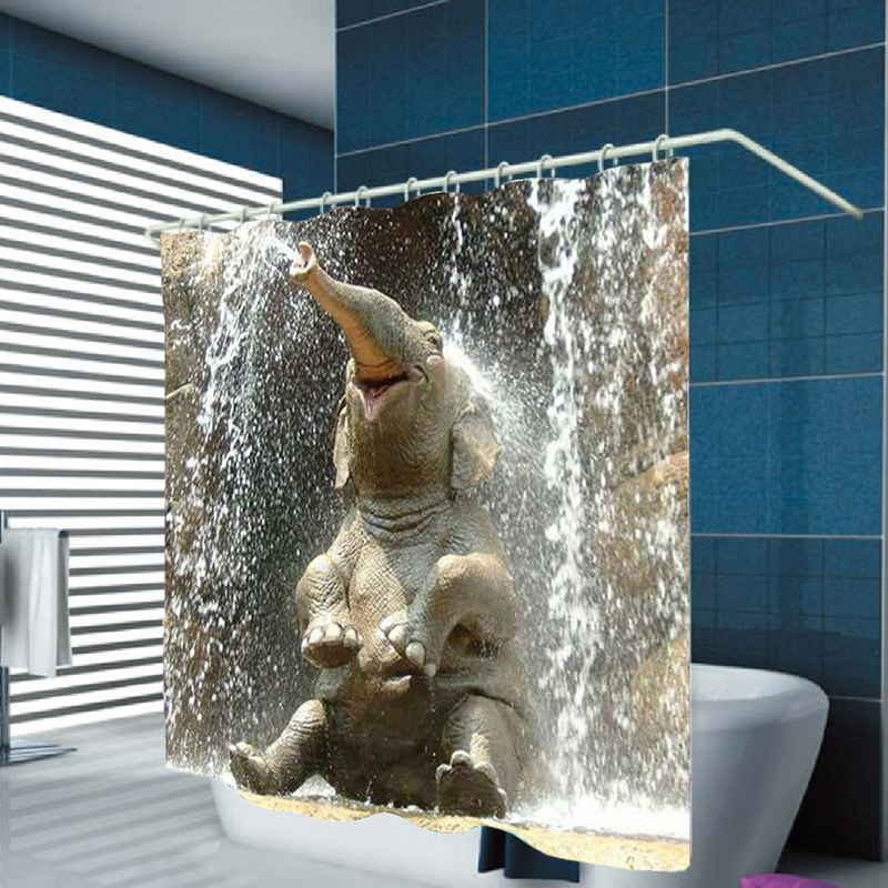 Urijk 3D Digital Printing Thickening Waterproof Polyester Happy Elephant Hook Shower Curtain For Bathroom Home Decoration