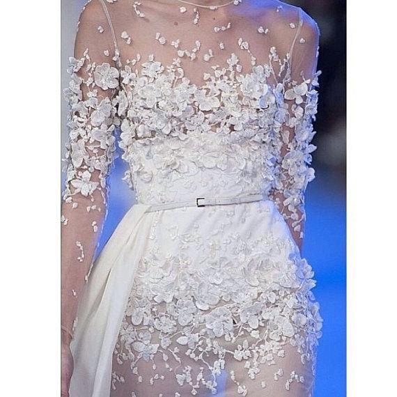 off white beaded lace fabric with 3D daisy flowers, haute couture elegant fine tulle bridal wedding lace