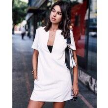 AEL знаменитостей Мода блоггер Женская высококачественная повседневная Глубокий v-образный вырез белый короткий рукав мини платье Ropa De Famosas Mujer