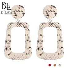 hot deal buy dilica trendy geometric statement earrings for women pu long drop earrings female vintage big earrings jewelry orecchini donna