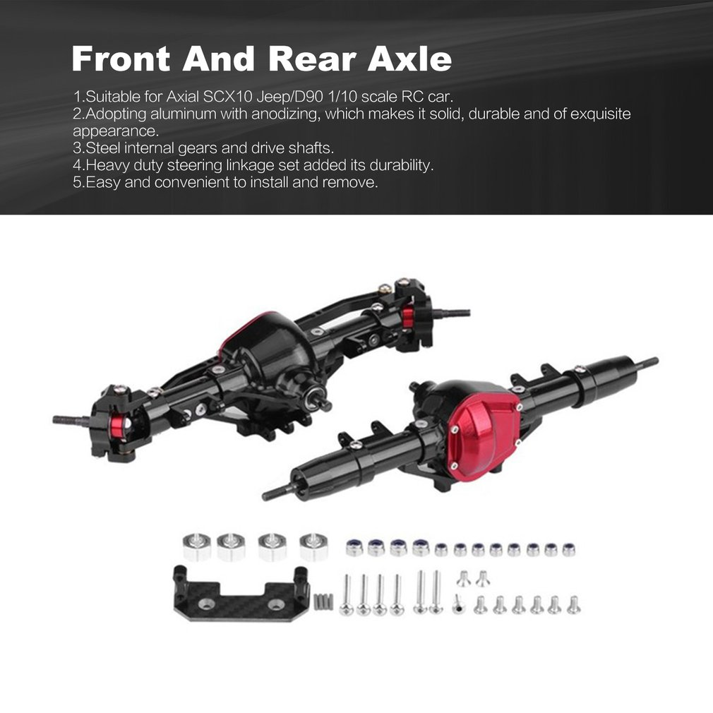 1//10 RC Crawler Car Parts Complete Alloy Front Rear Axle for AXIAL SCX10 RC4WD