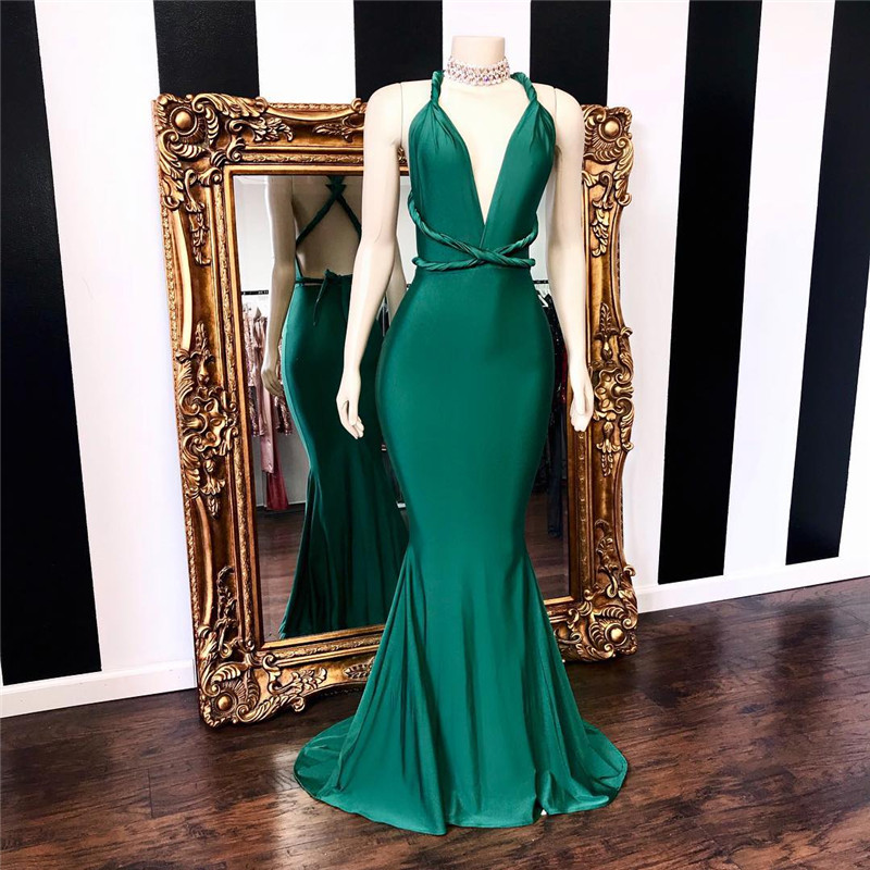 Dark Green Mermaid Prom Dresses 2019 Sexy Halter Neck Ruffled Dress For Party Women Cross Back Evening Special Occasion Gowns