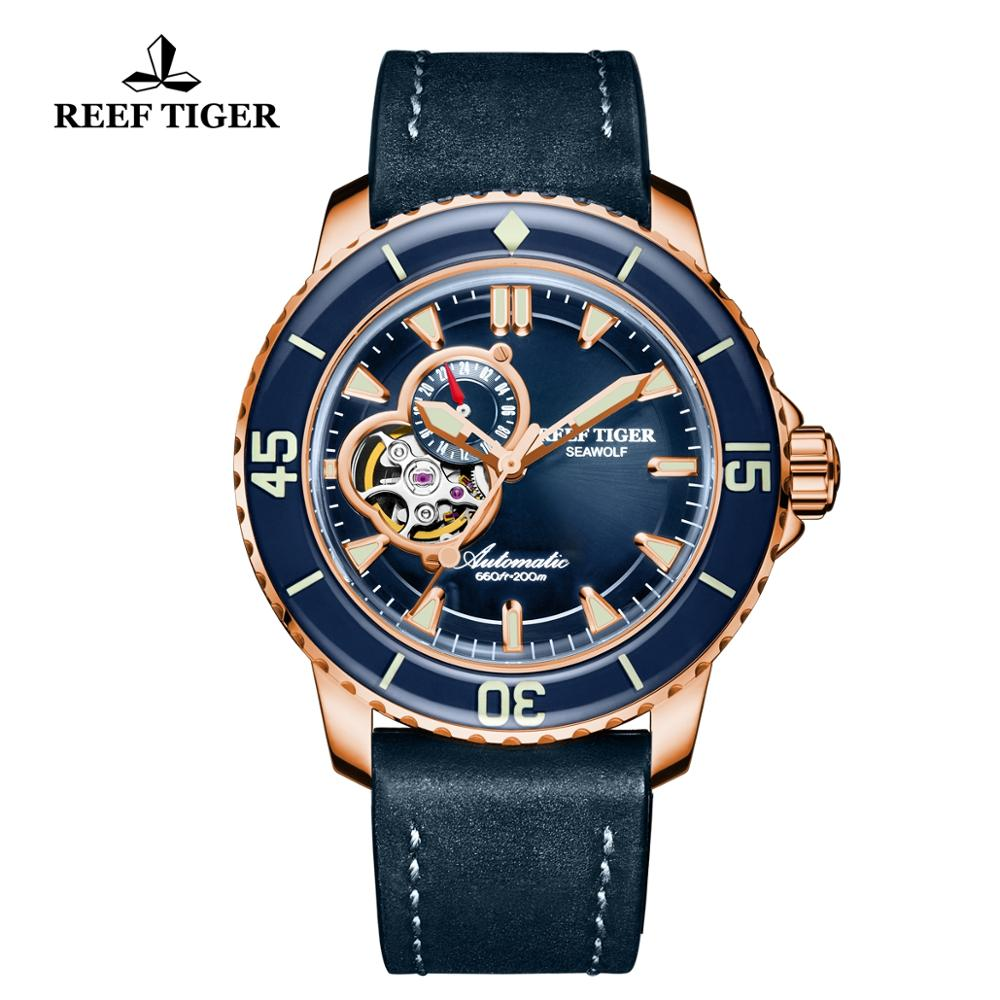 Reef Tiger/RT Dive Watches for Men Rose Gold Blue Dial Super Luminous Watches Analog Automatic Watches reloj hombre 2019 RGA3035Reef Tiger/RT Dive Watches for Men Rose Gold Blue Dial Super Luminous Watches Analog Automatic Watches reloj hombre 2019 RGA3035