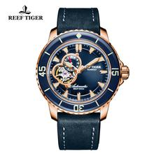 цена Reef Tiger/RT Dive Watches for Men Rose Gold Blue Dial Super Luminous Watches Analog Automatic Watches reloj hombre 2019 RGA3035 онлайн в 2017 году