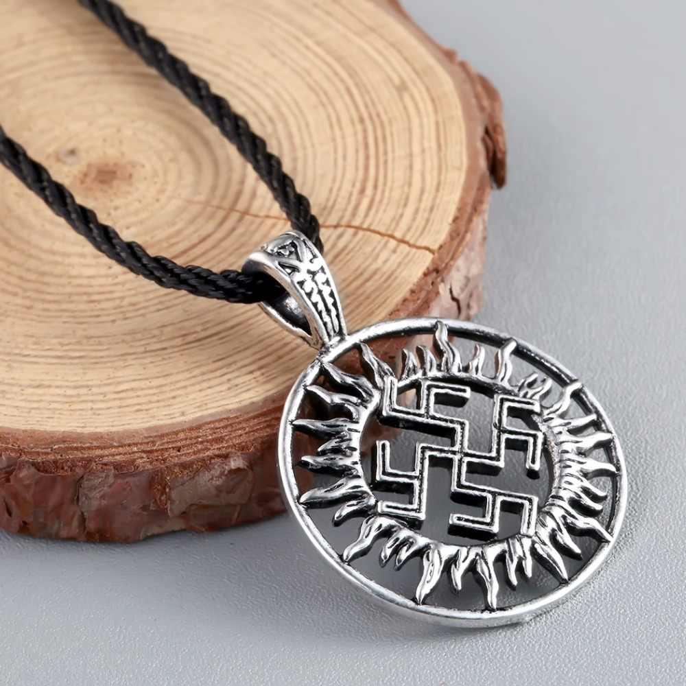 QIMING ไวกิ้ง Son Of Sun Sloar Kolovrat Slavic Amulet จี้สำหรับสร้อยคอสแกนดิเนเวียนนอร์สรอบ Choker สร้อยคอ