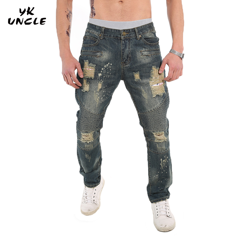 YK UNCLE Brand Design Hole Jeans Men Plus Size 30-40 Straight Regular Mens Denim Jeans High Quality Casual Fashion Men Trousers all seasons famous brand jeans men straight denim classic blue jeans pants regular fit high quality plus size 28 to 40 sulee
