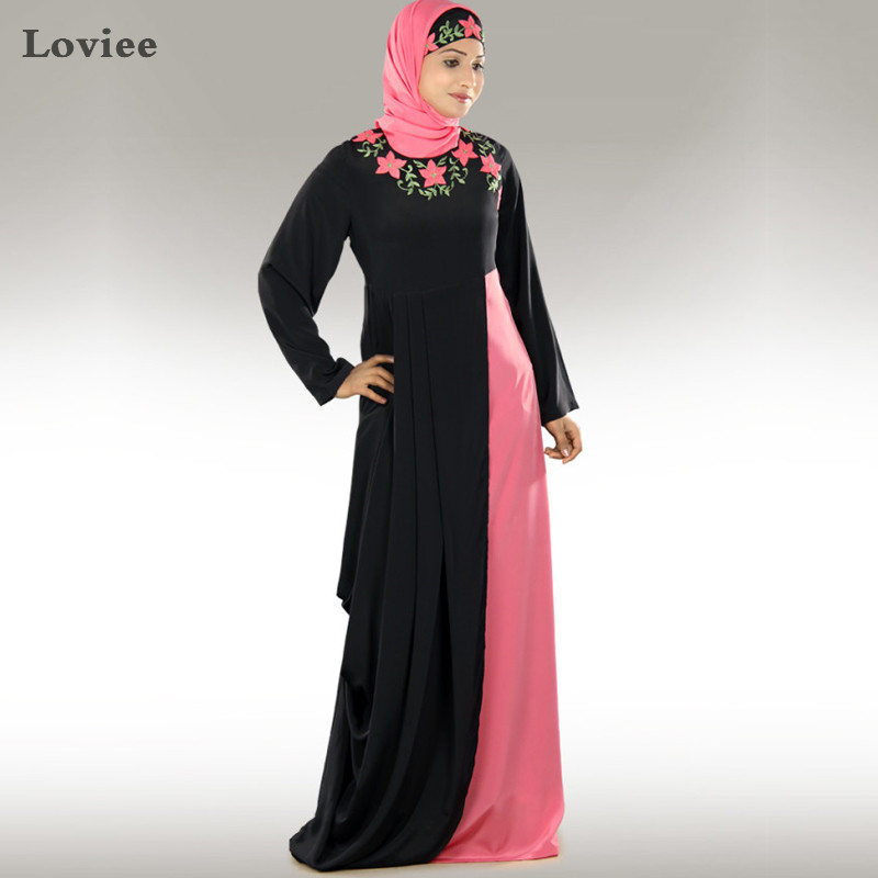 Unique Floral Embroidery Black and Pink Arabic Kaftan with font b Hijab b font Long Sleeve