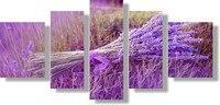 HD פוסטר גדול 5 לוח ציור מודפס פרחים לבנדר סגול הדפס בד אמנות בית תפאורה קיר תמונות לסלון F0191