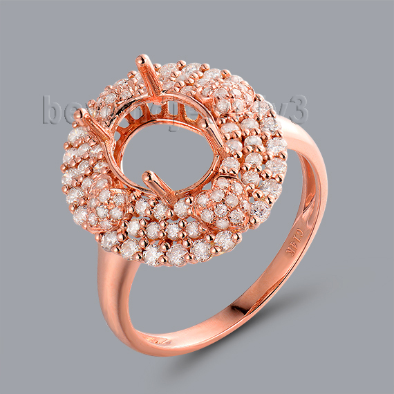 Oval Semi Mount 7x9mm Ring Setting In 14Kt Rose Gold Natural Love Diamond WU246 ...