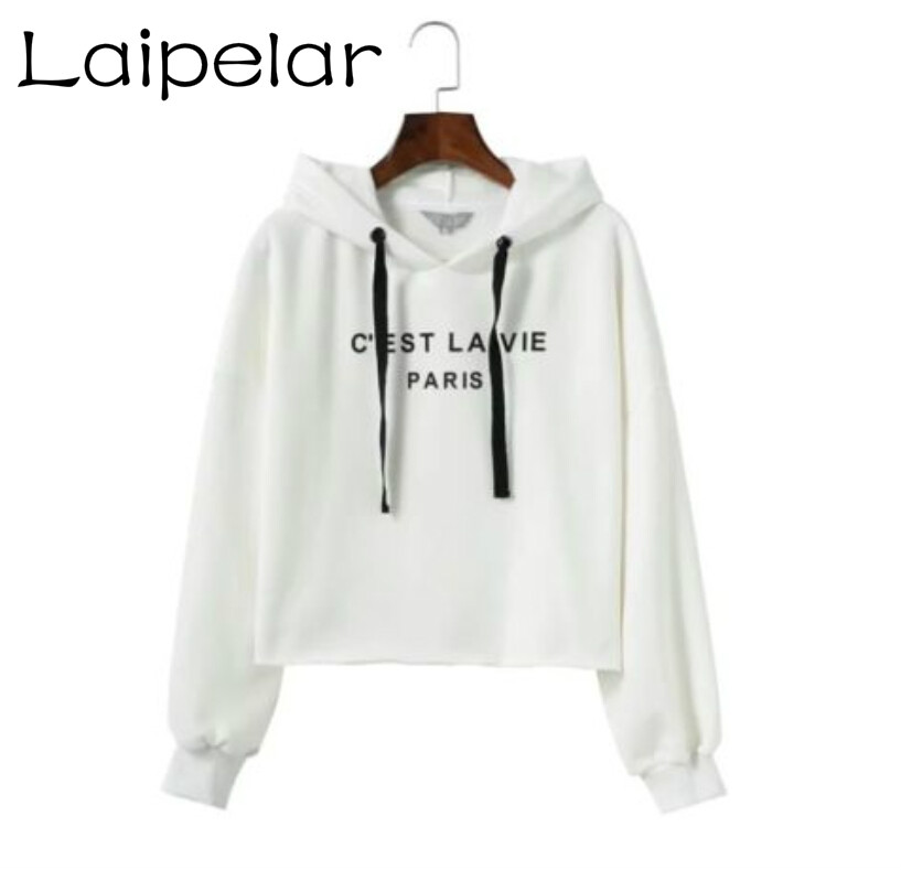 d204d14c30a56 Aliexpress.com   Buy New Stylish Women Clothing Sweatshirt Letters Printed  Long Sleeve Jumper Casual Crop Tops Coat Hooded Pullover Ladies Hoodie from  ...