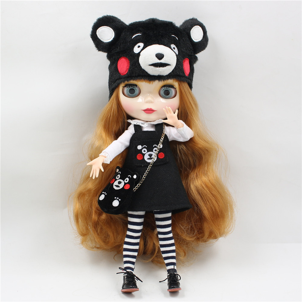 Kumamon Free shipping for icy blyth doll jecci five 1/6 30cm hat bag stocking shirt suit dress super cute цена и фото