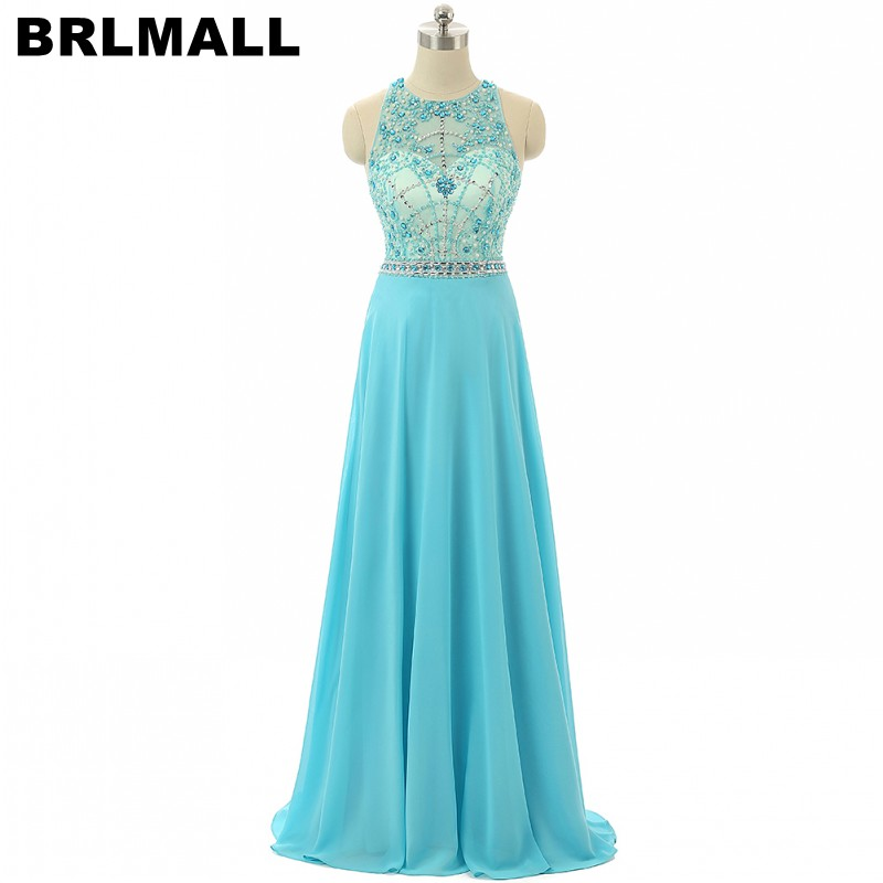 BRLMALL Vestido De Festa Beaded Shiny Crystal   Prom     Dress   2017 A-Line chiffon Floor Length Long evening   Dress   Party Gowns