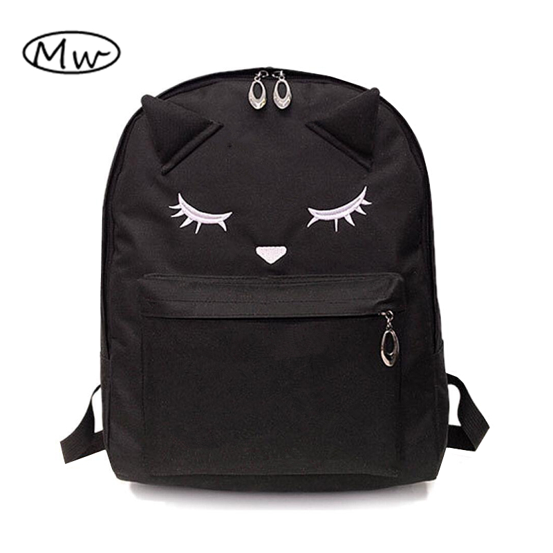 Cute Cartoon Embroidery Cat Printing Backpack Canvas Backpacks For Teenage Girls College Style Casual Backpack Sac Mochilas