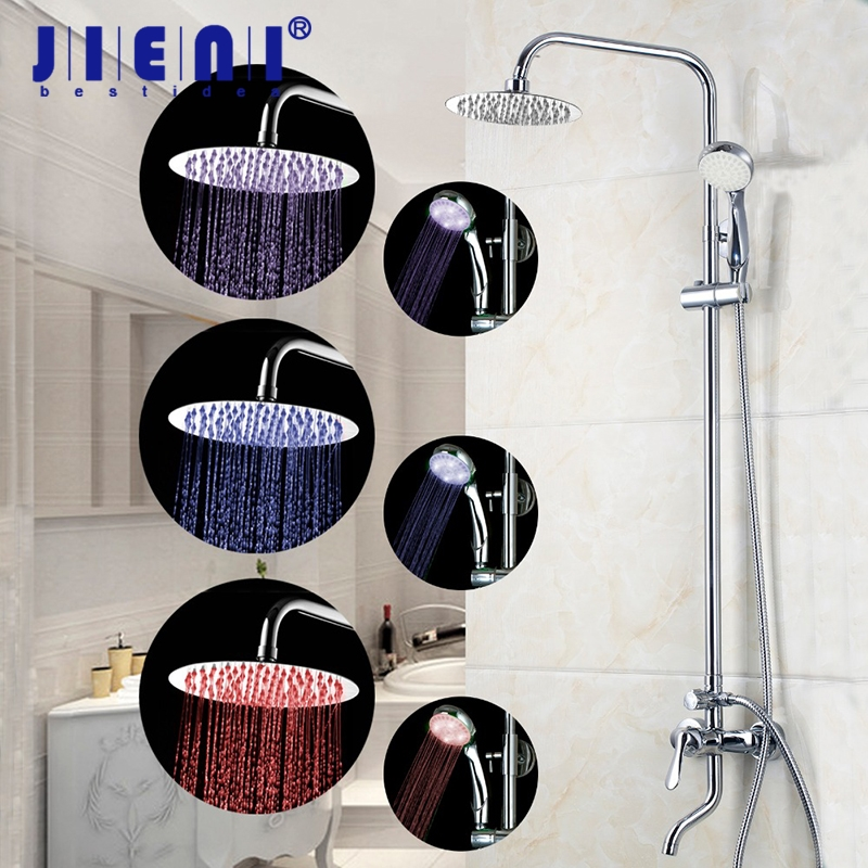 Wall Mounted Rainfall LED Shower Sets Chrome Brass Bathroom Head Shower Faucet with Led Spray Hand Mixer Shower Sets freeshipping brass 10 inch led shower head led shower temperature led water led bathroom faucet shower