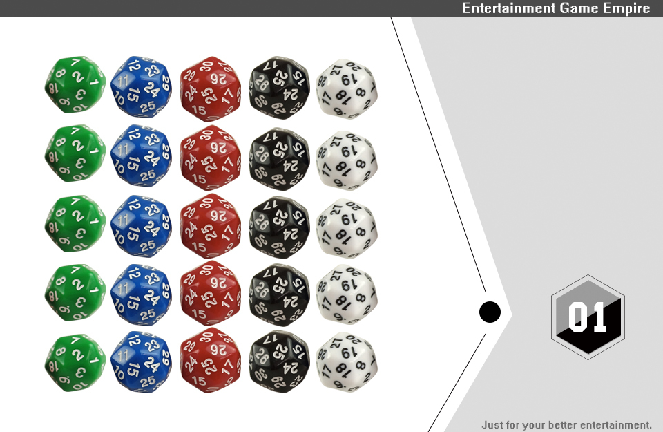2 Yernea High-quality Multifaceted Dice Set 5Pcs D30 Polyhedron Digital Dice Dungeons and Dragons Games Dice  (1)