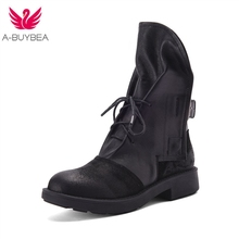 Cow Leather & Suede Leather Women Short Boots Lace-up Martin Boots Back Belt Buckle Ladies Shoes Two Ways Wear Black Shoes