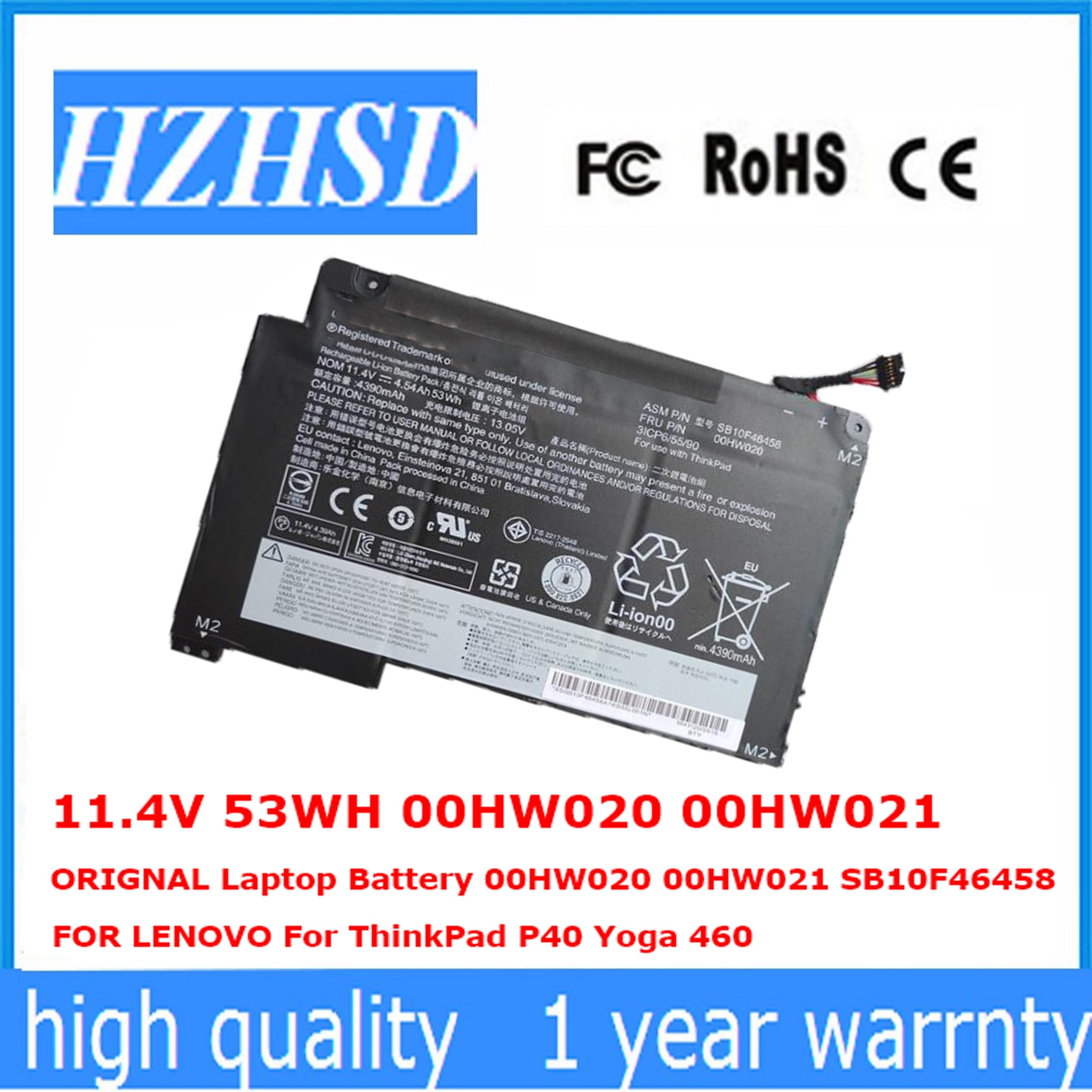 11.4V 53WH new ORIGNAL 00HW020 Laptop Battery 00HW020 00HW021 SB10F46458  FOR LENOVO For ThinkPad P40 Yoga 460